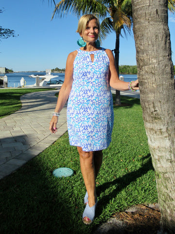 AQUA REEF KEY HOLE DRESS