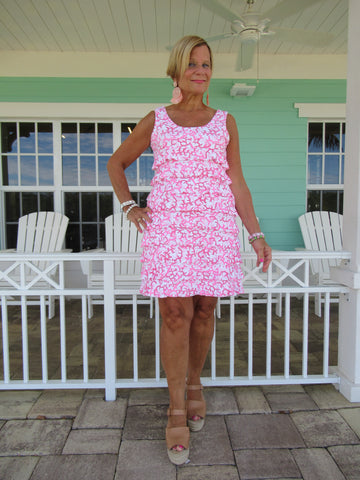 PINK REEFE LAYERED RUFFLE DRESS