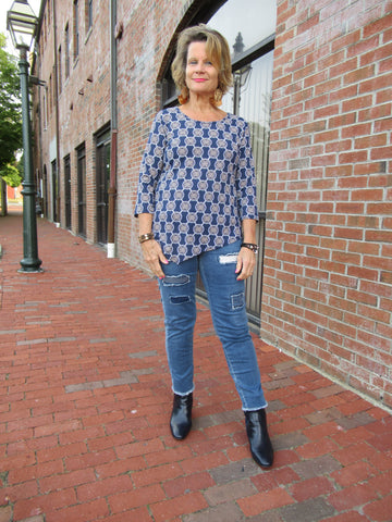 NAVY MEDALLION ASYMMETRIC TOP