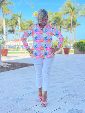 PALM BEACH FLOWERS ZIPPER TOP