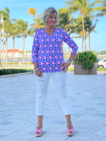 PINK STARFISH BEACH V NECK TOP