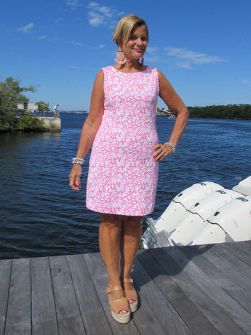 PINK REEF SHIFT DRESS