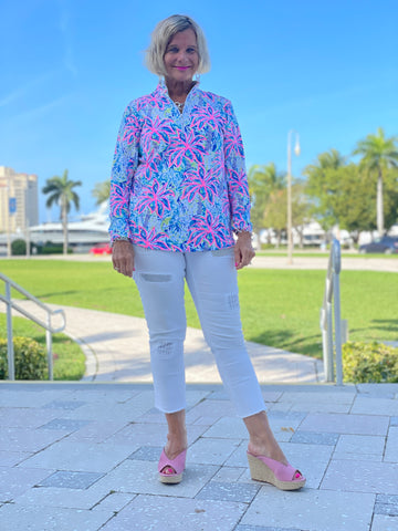 PINK PALM BEACH ZIPPER TOP