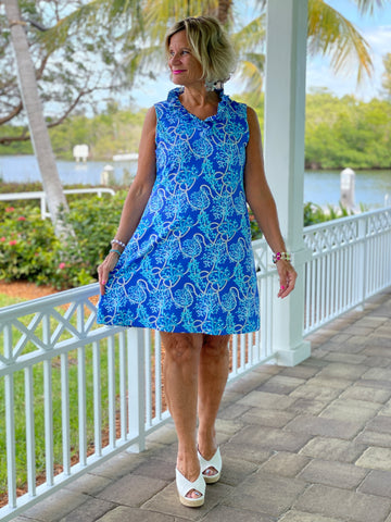 AQUA LANE RUFFLE DRESS