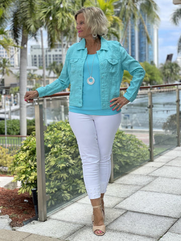 KEY WEST AQUA LINEN JACKET