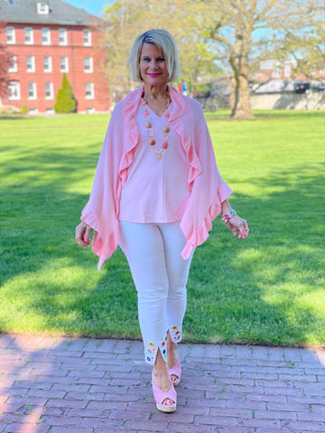 LIGHT PINK RUFFLE WRAP