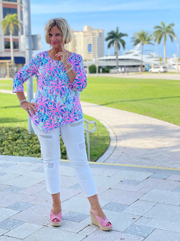 PINK PALM BEACH ASYMMETRIC TOP