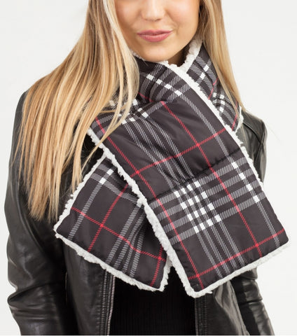 SHERPA QUILTED PLAID SCARF