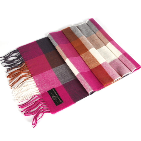 GINGHAM CHECKED CASHMERE FEEL SCARF