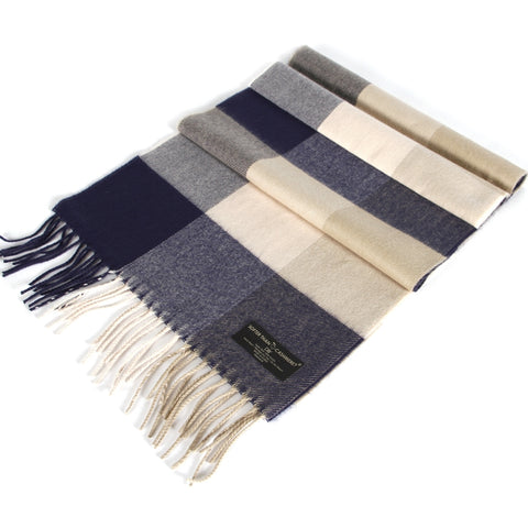 GINHAM CHECKED NAVY SCARF