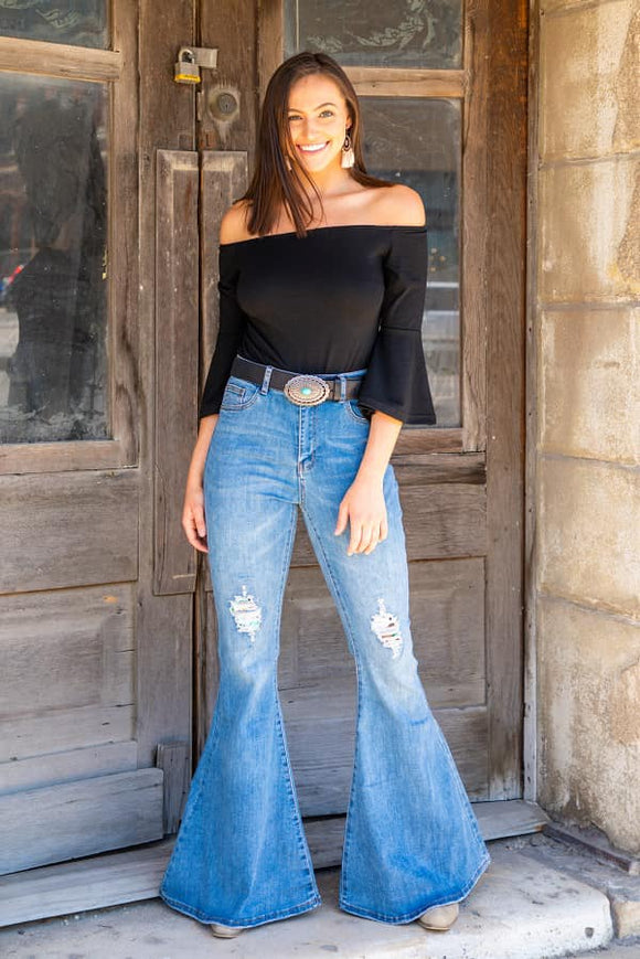 Light Denim Flares