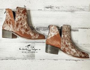 Genuine Cowhide Booties (Size 6)