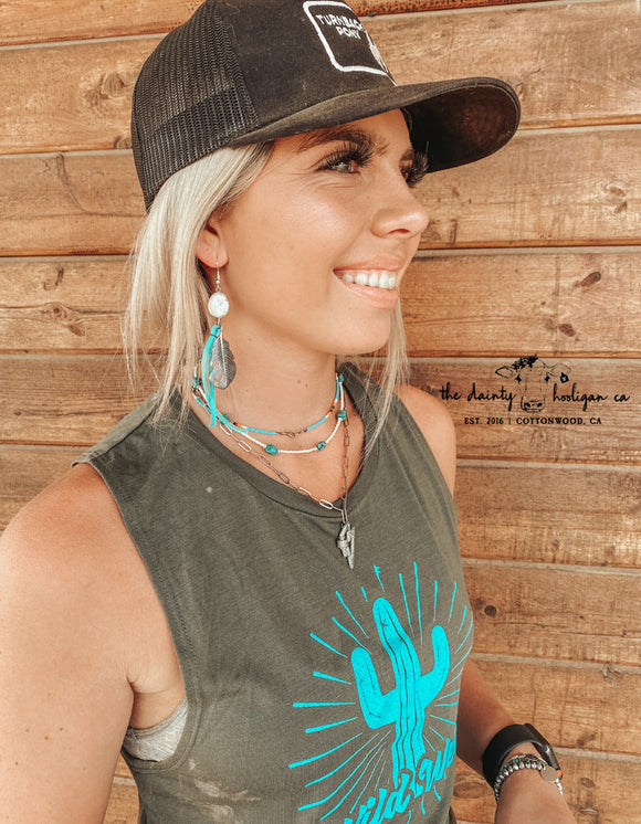 Turquoise Leather Feather Fringe Earrings