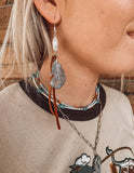 Saddle Leather Feather Fringe Earrings