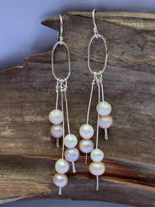 Silver and pearl dangles