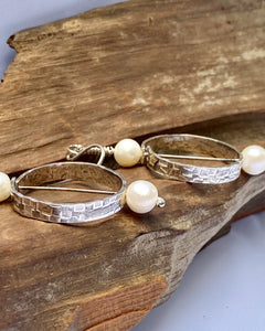 Silver and pearl circle earrings