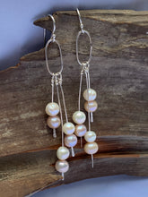 Load image into Gallery viewer, Silver and pearl dangles