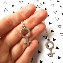 Load image into Gallery viewer, Large Feminist Symbol Chain Earrings