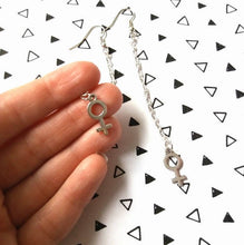 Load image into Gallery viewer, Small Feminist Symbol Chain Earrings