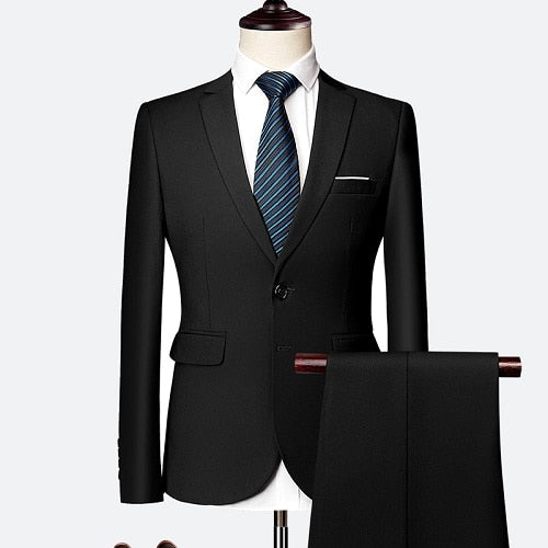 Suit male 3 Piece set Business Men's suits 2019 Autumn high-end Formal blazers Slim Fit party wedding large size boutique suit
