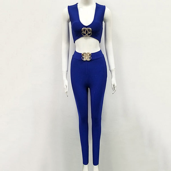 2019 Autumn New Women'S Fashion Sexy 2 Piece Two-Piece Set Sleeveless Bandage Long Pants Metal Diamond Buckle Club Party Set