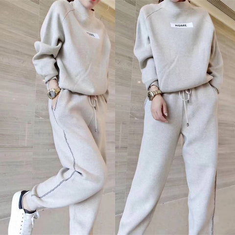 2019 autumn winter Woolen and Cashmere Knitted warm Suit O collar Sweater + Harem pants loose style two-piece set women knit
