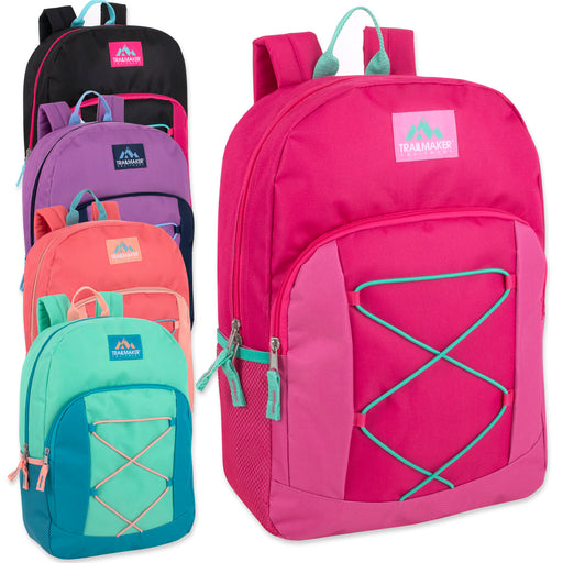 Wholesale 43cm Bungee Backpack, 20L Capacity, With Side Pocket - Girls Assortment