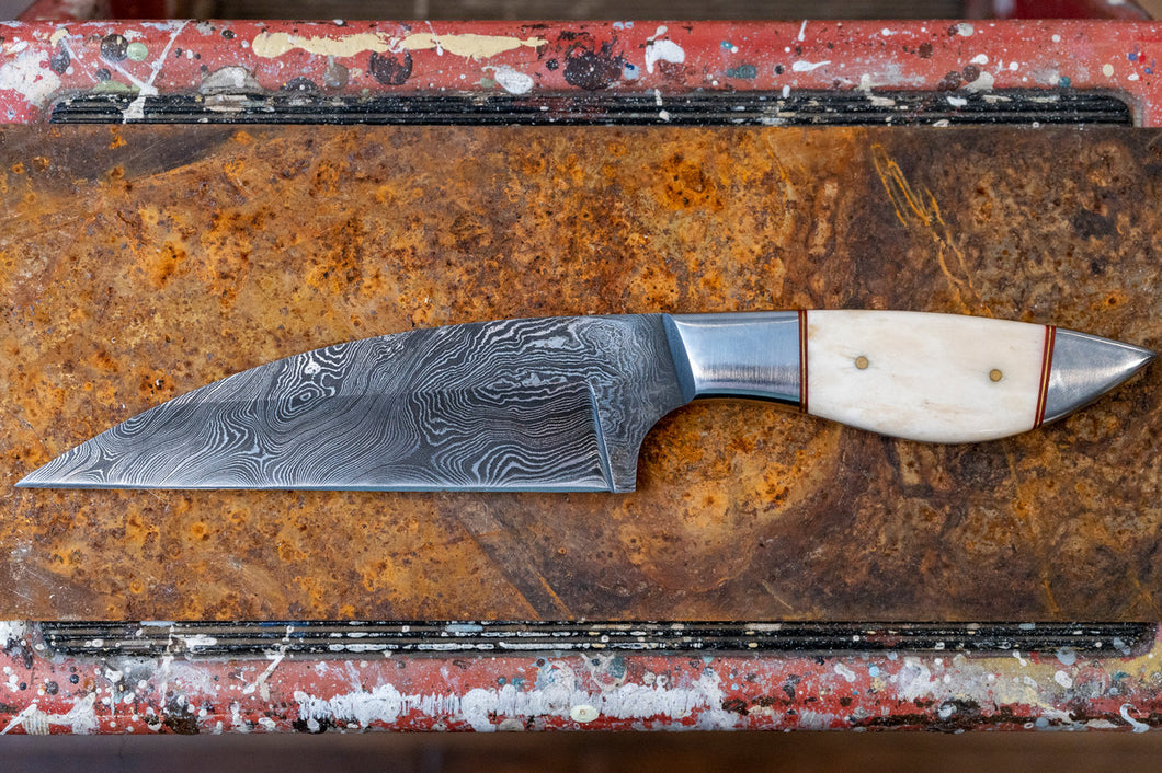 Kitchen Knife- Camel Bone and Damascus Steel