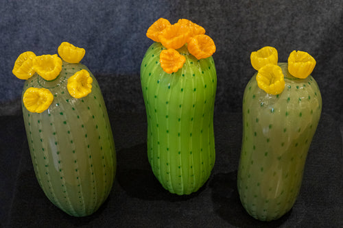 Large Saguaro Cactus with 3 Flowers (multiple color variations available)