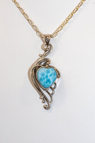 Sterling Silver Larimar Heart Pendant