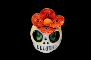 Red Flower Skull- Center