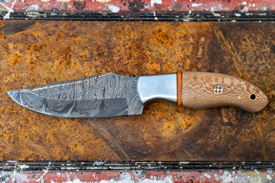Skinner Knife- Olive Wood and Damascus Steel