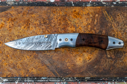Folding Knife- Walnut and Damascus Steel