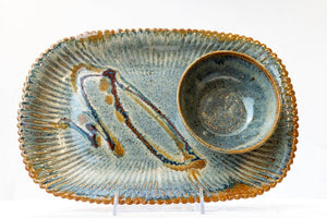 Oval Sunburst Chip and Dip Dish