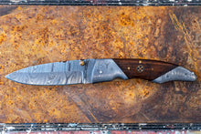 "Load image into Gallery viewer, Folding Knife- Walnut and Damascus Steel with ""SY engraved"""