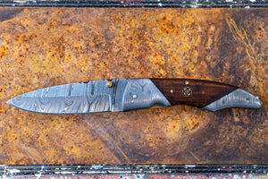 "Folding Knife- Walnut and Damascus Steel with ""SY engraved"""