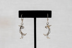 Sterling Silver Cast Earrings (E19) with custom stone
