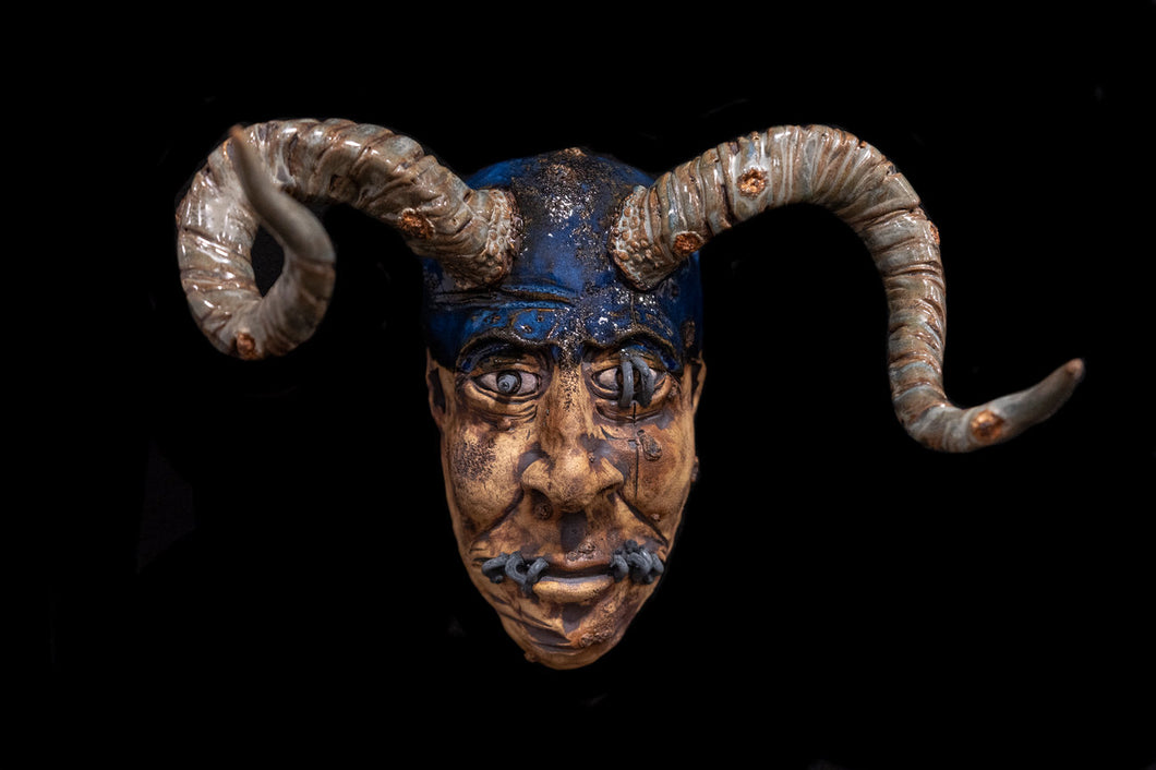 Blue Mask with Horns