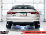 AWE Touring Edition Exhaust for Audi B9 RS 5 Coupe - Resonated for Performance Catalysts - Diamond Black RS-style Tips - Motorsports LA