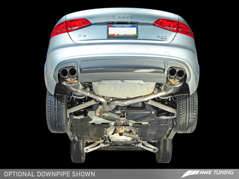 AWE Touring Edition Exhaust for B8 A4 2.0T - Single Side, Polished Silver Tips