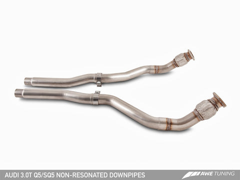 AWE Non-Resonated Downpipes for Audi 8R Q5 / SQ5 3.0T - Motorsports LA