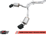 AWE Track Edition Exhaust for Audi B9 RS 5 Coupe - Resonated for Performance Catalysts - Diamond Black RS-style Tips - Motorsports LA