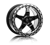 Forgestar D5 BEADLOCK Drag Racing Wheels - Gloss Black w/Machined Lip - 18x10.5 - Sold Individually - Motorsports LA