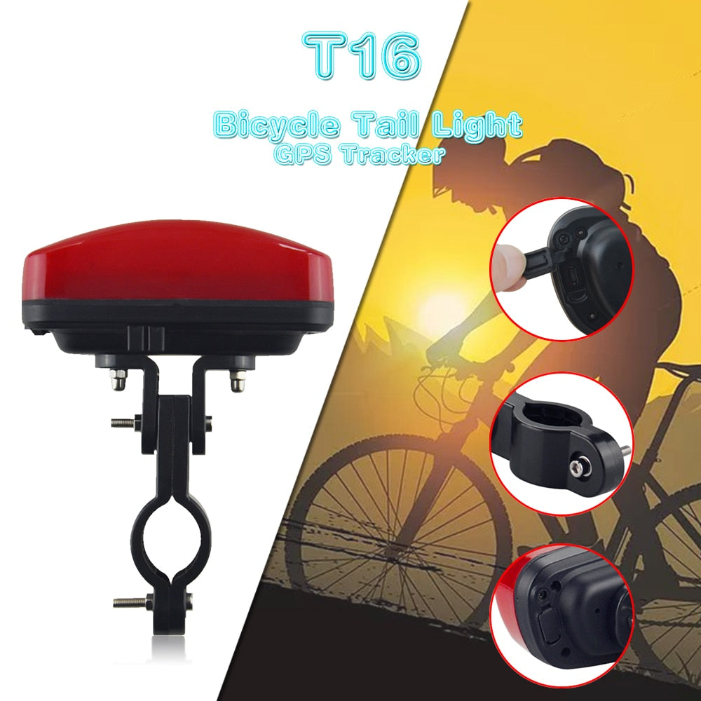 GPS Bike Bicycle Tracker T16 GPS Tracker with Taillight GPS/GSM Antenna Real Time Tracking 5200mAh Motion Sensor Anti Bike Theft