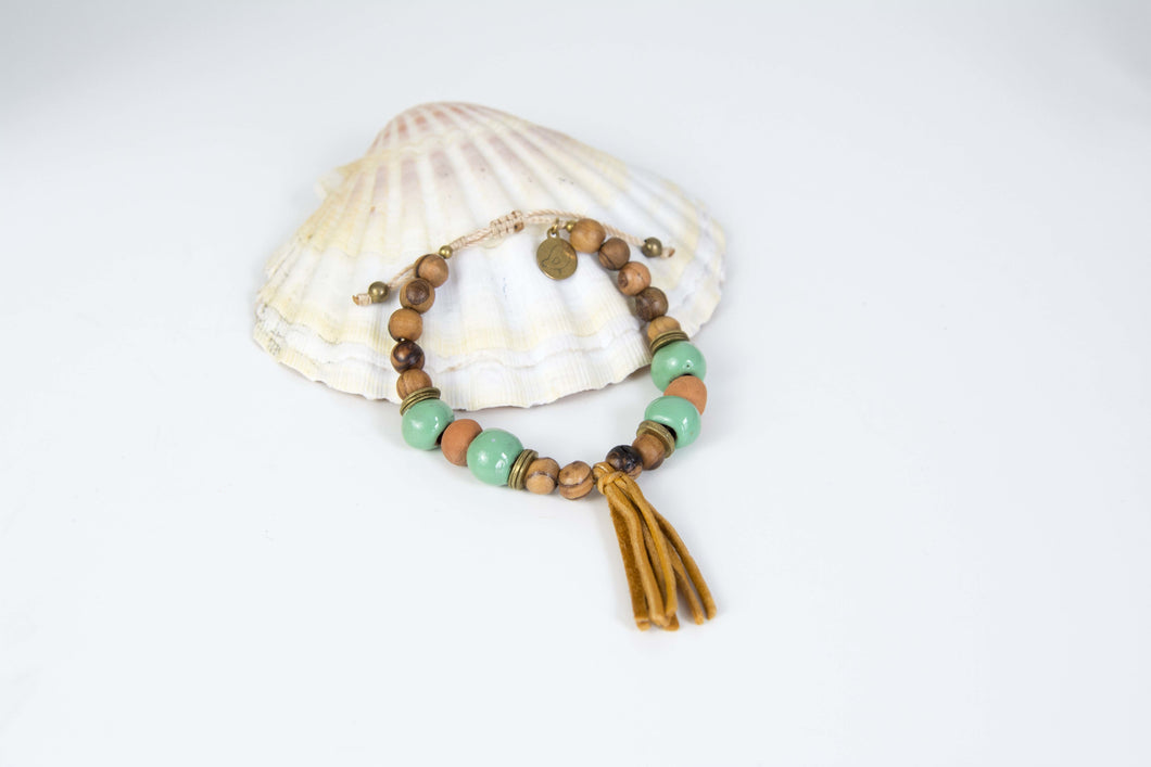 Mint and Wood Tassel Diffuser Bracelet