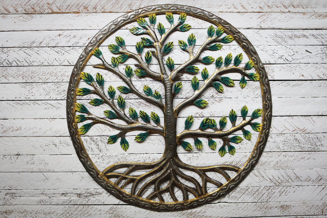 Painted Tree Metal Art