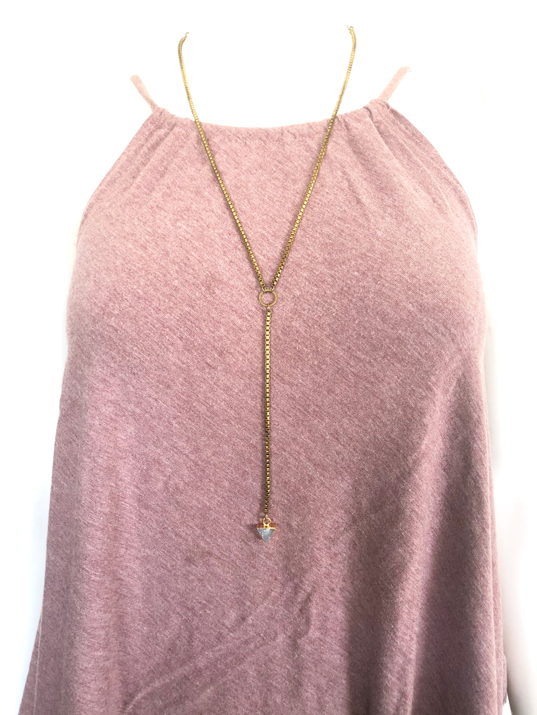 Druzy Drop Pendant Necklace