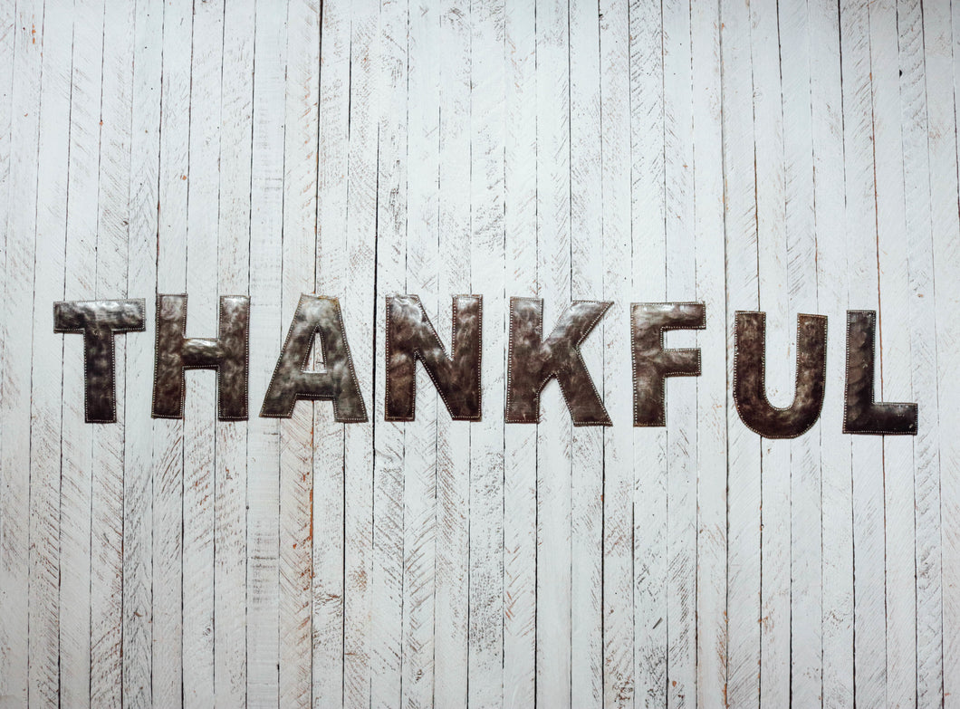 Block Letter Metal Art - Thankful