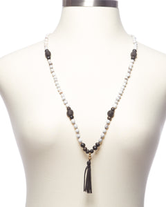 Diffuser Necklace - Grey and White Tassel