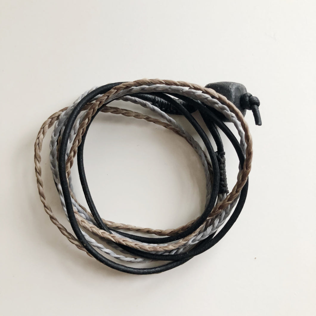 Men's Triple Wrap Bracelet - Grey & Khaki